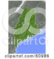 Royalty Free RF Clipart Illustration Of A Shaded Relief Map Of The State Of Maine by Michael Schmeling