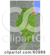 Royalty Free RF Clipart Illustration Of A Shaded Relief Map Of The State Of Illinois