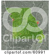 Royalty Free RF Clipart Illustration Of A Shaded Relief Map Of The State Of Missouri
