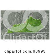 Royalty Free RF Clipart Illustration Of A Shaded Relief Map Of The State Of Kentucky