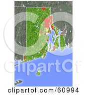 Royalty Free RF Clipart Illustration Of A Shaded Relief Map Of The State Of Rhode Island