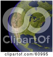 Royalty Free RF Clipart Illustration Of A Shaded Relief Map Of North America As Seen From Space