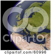 Royalty Free RF Clipart Illustration Of A Shaded Relief Map Of Europe As Seen From Space by Michael Schmeling
