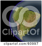 Royalty Free RF Clipart Illustration Of A Shaded Relief Map Of South America As Seen From Space by Michael Schmeling