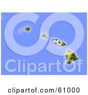 Royalty Free RF Clipart Illustration Of A Shaded Relief Map Of The Hawaiian Islands by Michael Schmeling