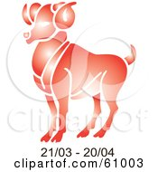 Royalty Free RF Clipart Illustration Of A Shiny Red Aries Astrology Symbol With Duration Dates