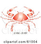 Royalty Free RF Clipart Illustration Of A Shiny Red Cancer Astrology Symbol With Duration Dates