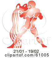 Royalty Free RF Clipart Illustration Of A Shiny Red Aquarius Astrology Symbol With Duration Dates