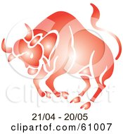 Royalty Free RF Clipart Illustration Of A Shiny Red Taurus Astrology Symbol With Duration Dates