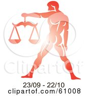 Royalty Free RF Clipart Illustration Of A Shiny Red Libra Astrology Symbol With Duration Dates