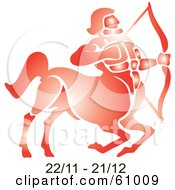 Royalty Free RF Clipart Illustration Of A Shiny Red Sagittarius Astrology Symbol With Duration Dates