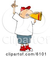Man Yelling Through Megaphone And Pointing Finger Up Clipart Picture