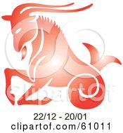 Royalty Free RF Clipart Illustration Of A Shiny Red Capricorn Astrology Symbol With Duration Dates