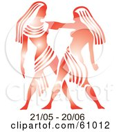 Royalty Free RF Clipart Illustration Of A Shiny Red Gemini Astrology Symbol With Duration Dates