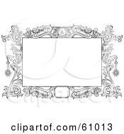 Royalty Free RF Clipart Illustration Of A Beautiful Black And White Floral Scroll Frame Around A Blank Text Box