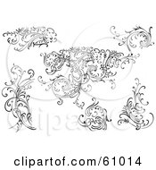 Royalty Free RF Clipart Illustration Of A Digital Collage Of Black And White Leafy Floral Scrolls And Design Elements Version 4