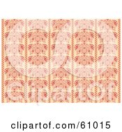 Royalty Free RF Clipart Illustration Of A Background Pattern Of Ornate Red Flourish Panels On Beige by pauloribau