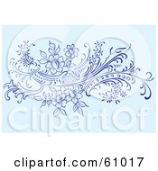 Royalty Free RF Clipart Illustration Of A Floral Scroll Background Of Flowering Vines On Blue