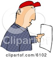 Man Reading A Letter Clipart Picture