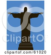 Royalty Free RF Clipart Illustration Of A Religious Silhouetted Statue Of Jesus Christ Against A Blue Sky