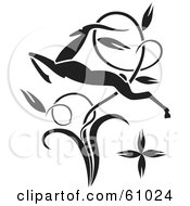 Royalty Free RF Clipart Illustration Of A Black Leaping Antelope Through A Twisting Vine by pauloribau
