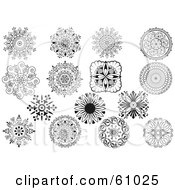 Royalty-free (RF) Clipart Illustration of a Digital Collage Of Black And White Ornate Medallion Designs by pauloribau