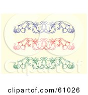 Royalty Free RF Clipart Illustration Of A Digital Collage Of Blue Red And Green Floral Trumpet Vine Design Elements by pauloribau