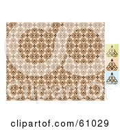 Royalty Free RF Clipart Illustration Of A Beige Floral Ornate Background Shown With Green Pink And Blue Samples