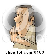 Religious Christian Man Praying To Jesus Clipart Picture