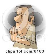 Religious Christian Man Praying To Jesus
