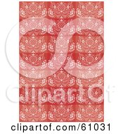 Royalty Free RF Clipart Illustration Of A Background Pattern Of Red And Pink Rectangles With White Flourishes