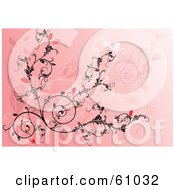 Royalty Free RF Clipart Illustration Of An Ornate Black And Red Vine Scroll Background On Pink by pauloribau