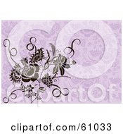 Royalty Free RF Clipart Illustration Of A Brown Floral Design Element Over A Purple Floral Background by pauloribau