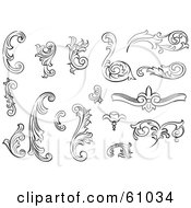 Royalty Free RF Clipart Illustration Of A Digital Collage Of Black And White Leafy Floral Scrolls And Design Elements Version 1