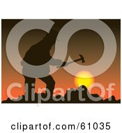 Royalty Free RF Clipart Illustration Of A Silhouetted Miner Holding A Hammer Against A Sunset