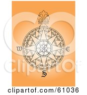 Royalty Free RF Clipart Illustration Of An Ornate Black Wind Rose Design On Orange