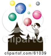 Royalty Free RF Clipart Illustration Of A Little Boy Blowing Colorful Soap Bubbles Around Silhouetted Trees by pauloribau