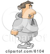 Balding Fat Man Going Jogging Clipart Picture