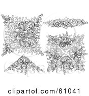 Royalty Free RF Clipart Illustration Of A Digital Collage Of Four Ornate Long And Triangular Floral Design Elements by pauloribau