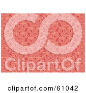 Royalty Free RF Clipart Illustration Of A Background Pattern Of Elegant Red Flourishes On Pink by pauloribau