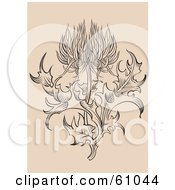 Royalty Free RF Clipart Illustration Of An Ornate Thistle Flower With Leaves On Beige