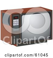 Royalty-free (RF) Clipart Illustration of a Retro Box Tv Set With A Number Pad On The Side by pauloribau