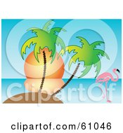 Royalty Free RF Clipart Illustration Of A Pink Flamingo Near A Tropical Island With Palm Trees Against The Sunset