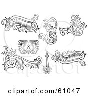 Royalty Free RF Clipart Illustration Of A Digital Collage Of Black And White Leafy Floral Scrolls And Design Elements Version 3