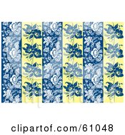 Royalty Free RF Clipart Illustration Of A Blue White And Yellow Background Of Floral Panels by pauloribau