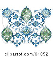 Royalty Free RF Clipart Illustration Of An Ornate Blue And Green Floral Butterfly Design On White