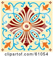 Royalty Free RF Clipart Illustration Of A Beautiful Orange Blue Red And Beige Floral Tile Design by pauloribau