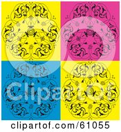 Royalty Free RF Clipart Illustration Of A Background Of Bright Yellow Blue And Pink Floral Tiles by pauloribau