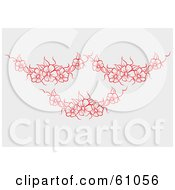 Royalty Free RF Clipart Illustration Of A Pale Background With Three Red Flower Garlands by pauloribau