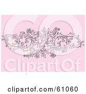 Royalty Free RF Clipart Illustration Of A Floral Scroll Background Of Black Flowering Vines On Pink by pauloribau
